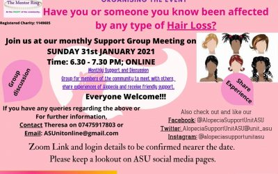TMR and the Alopecia Support unit holding support meeting via Zoom 31st January 6:30 – 7:30