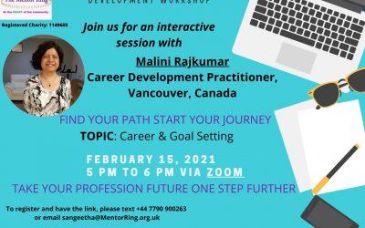 Career and professional development workshop – February 15th 5 – 6pm via Zoom
