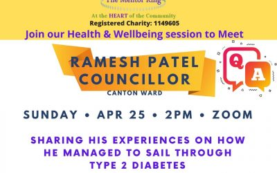 Health & Wellbeing session to Meet Ramesh Patel, Sunday 25th April, 2pm