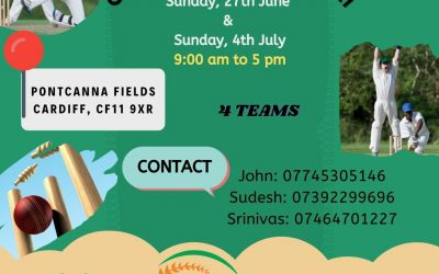 Cricket tournament in Pontcanna Fields Sunday 27th June and Sunday 4th July