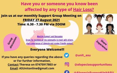 TMR and the Alopecia Support Unit holding support meeting via Zoom Friday, 27th August 6:30 – 7:30 pm