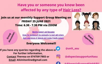 TMR and the Alopecia Support unit holding support meeting via Zoom Friday, 25th June 6:30 – 7:30 pm