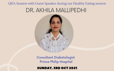 Guest Speaker Dr Akhila Mallipedhi at Healthy Eating Session, Sunday 3rd October 10:30am