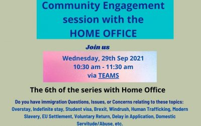 Community Engagement with the Home Office Wednesday 29th September