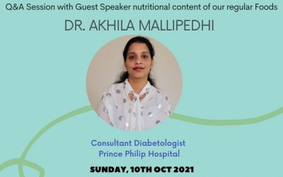 Healthy Eating Session this week Sunday 10th October 2021 – 10:30 am for a Q&A Session with our Guest Speaker Dr Akhila Mallipedhi